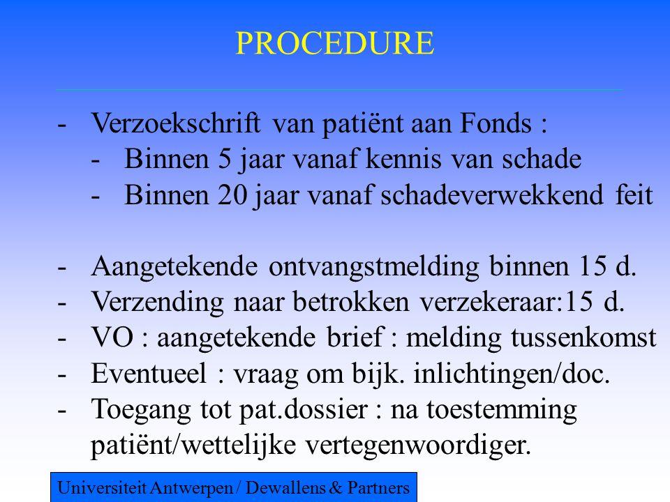 PROCEDURE -Verzoekschrift van patiënt aan Fonds : -Binnen 5 jaar vanaf kennis van schade -Binnen 20 jaar vanaf schadeverwekkend feit -Aangetekende ontvangstmelding binnen 15 d.