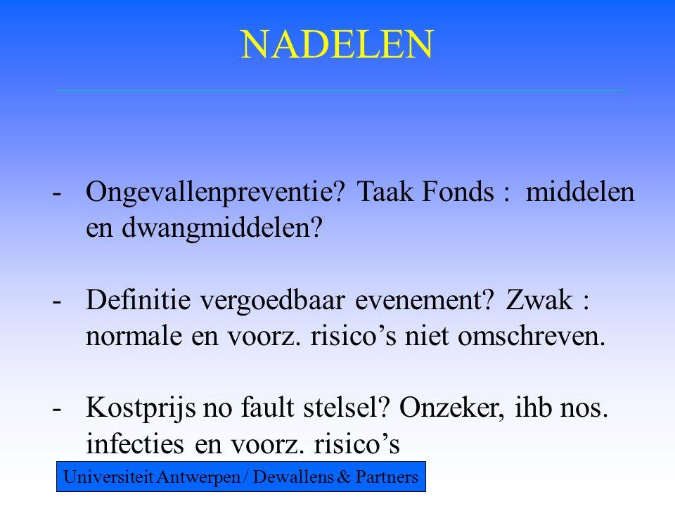 NADELEN -Ongevallenpreventie. Taak Fonds : middelen en dwangmiddelen.