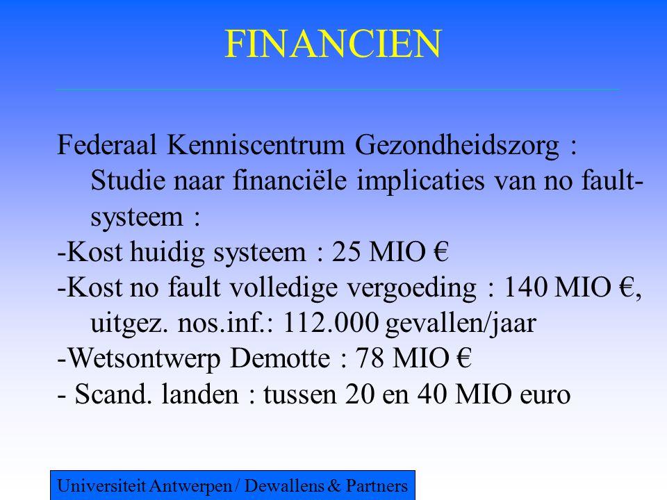 FINANCIEN Federaal Kenniscentrum Gezondheidszorg : Studie naar financiële implicaties van no fault- systeem : -Kost huidig systeem : 25 MIO € -Kost no fault volledige vergoeding : 140 MIO €, uitgez.