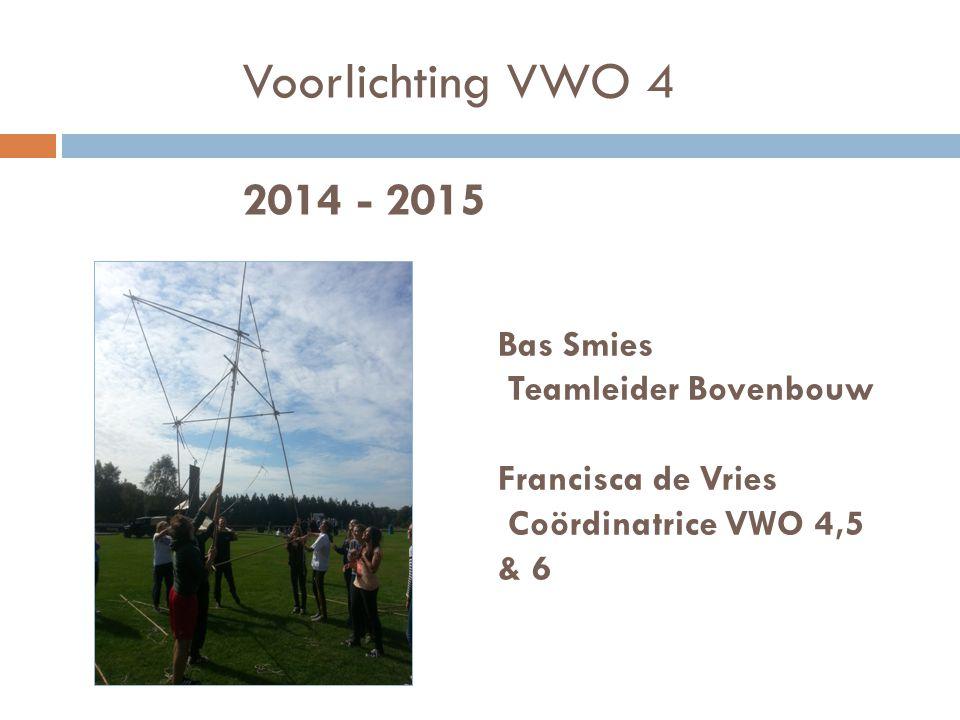 Voorlichting VWO 4 2014 - 2015 Bas Smies Teamleider Bovenbouw Francisca de Vries Coördinatrice VWO 4,5 & 6