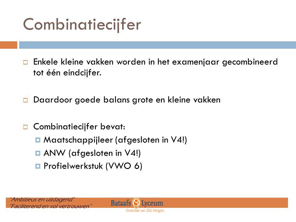 Combinatiecijfer  Enkele kleine vakken worden in het examenjaar gecombineerd tot één eindcijfer.