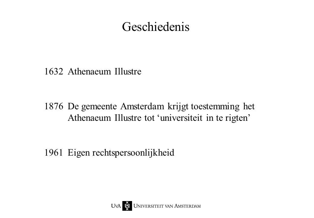 Opgericht in 1632 als Athenaeum Illustre Een brede klassieke universiteit 22.000 studenten Jaarbudget van 386 miljoen euro Meer dan 60 opleidingen 5000 werknemers Universiteit van Amsterdam