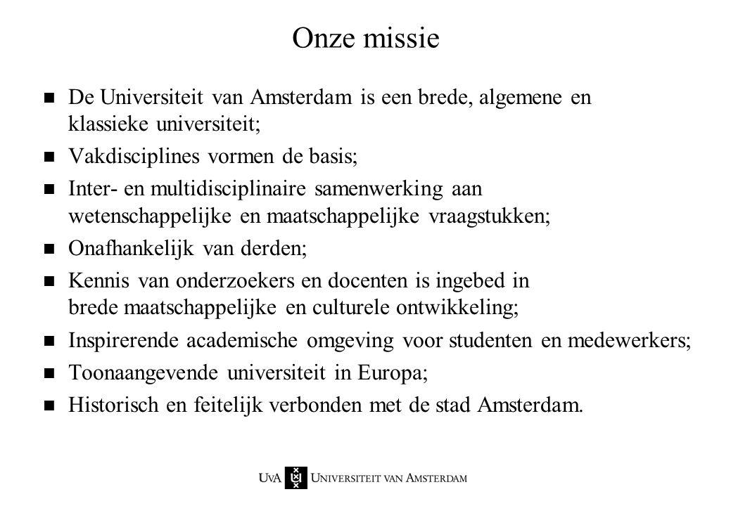 Onze missie n De Universiteit van Amsterdam is een brede, algemene en klassieke universiteit; n Vakdisciplines vormen de basis; n Inter- en multidisci