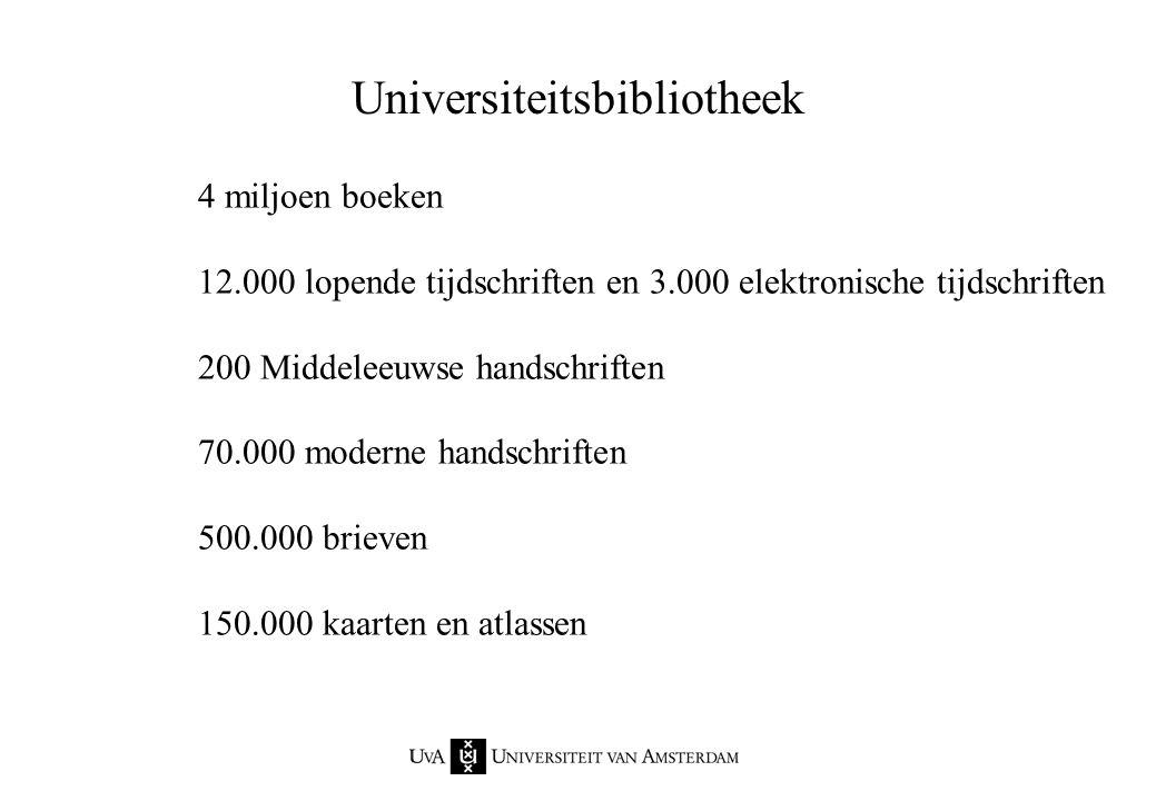 4 miljoen boeken 12.000 lopende tijdschriften en 3.000 elektronische tijdschriften 200 Middeleeuwse handschriften 70.000 moderne handschriften 500.000