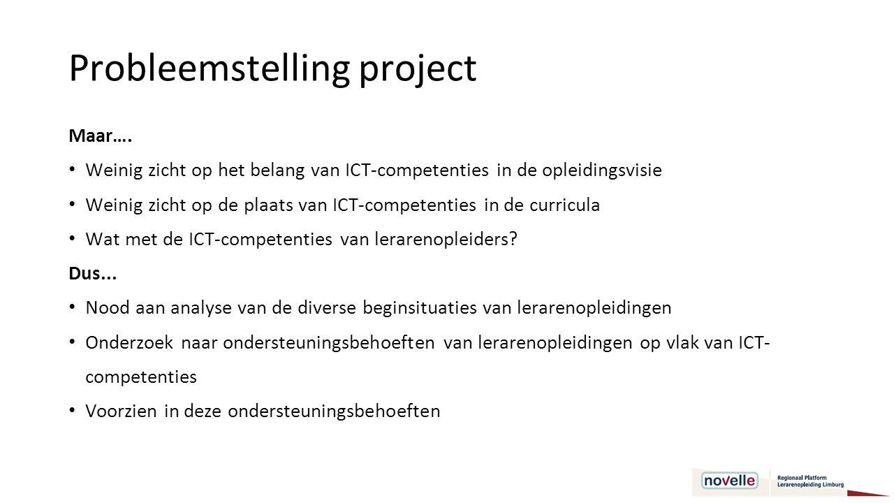 Doelstelling 1 Ontwikkelen van een interpretatiekader om lerarenopleidingen te kunnen waarnemen en analyseren op vlak van hun ontwikkelingsniveau en aanpak inzake ICT-competenties.
