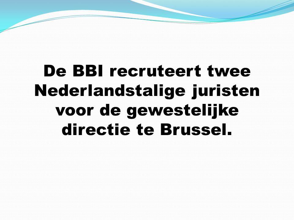 De BBI recruteert twee Nederlandstalige juristen voor de gewestelijke directie te Brussel.