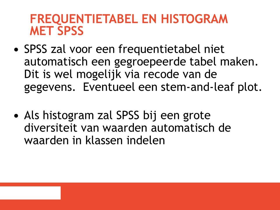 FREQUENTIETABEL EN HISTOGRAM MET SPSS SPSS zal voor een frequentietabel niet automatisch een gegroepeerde tabel maken. Dit is wel mogelijk via recode