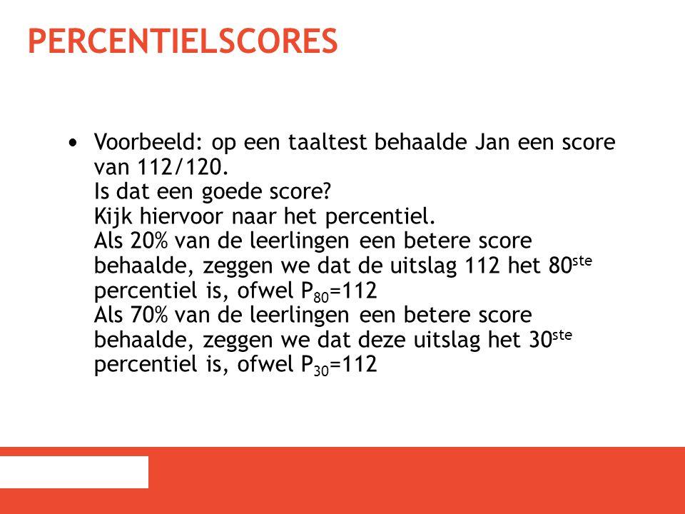 PERCENTIELSCORES Voorbeeld: op een taaltest behaalde Jan een score van 112/120. Is dat een goede score? Kijk hiervoor naar het percentiel. Als 20% van