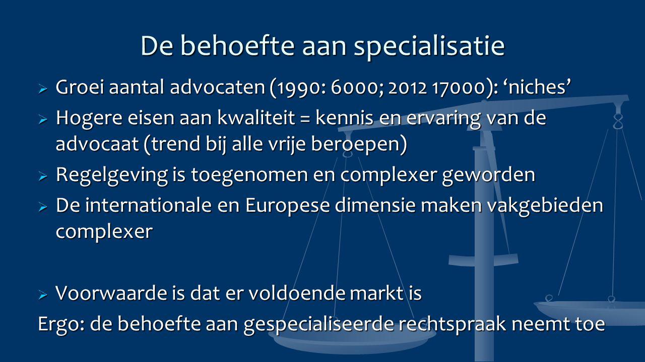 De behoefte aan specialisatie  Groei aantal advocaten (1990: 6000; 2012 17000): 'niches'  Hogere eisen aan kwaliteit = kennis en ervaring van de advocaat (trend bij alle vrije beroepen)  Regelgeving is toegenomen en complexer geworden  De internationale en Europese dimensie maken vakgebieden complexer  Voorwaarde is dat er voldoende markt is Ergo: de behoefte aan gespecialiseerde rechtspraak neemt toe