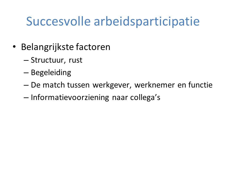 Succesvolle arbeidsparticipatie Belangrijkste factoren – Structuur, rust – Begeleiding – De match tussen werkgever, werknemer en functie – Informatievoorziening naar collega's