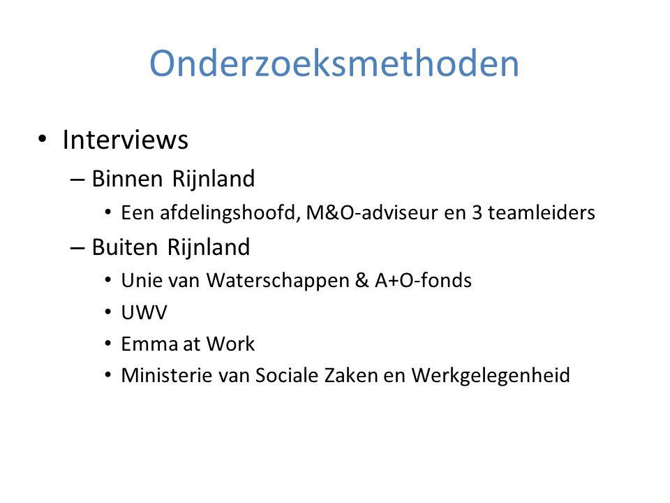 Onderzoeksmethoden Interviews – Binnen Rijnland Een afdelingshoofd, M&O-adviseur en 3 teamleiders – Buiten Rijnland Unie van Waterschappen & A+O-fonds UWV Emma at Work Ministerie van Sociale Zaken en Werkgelegenheid