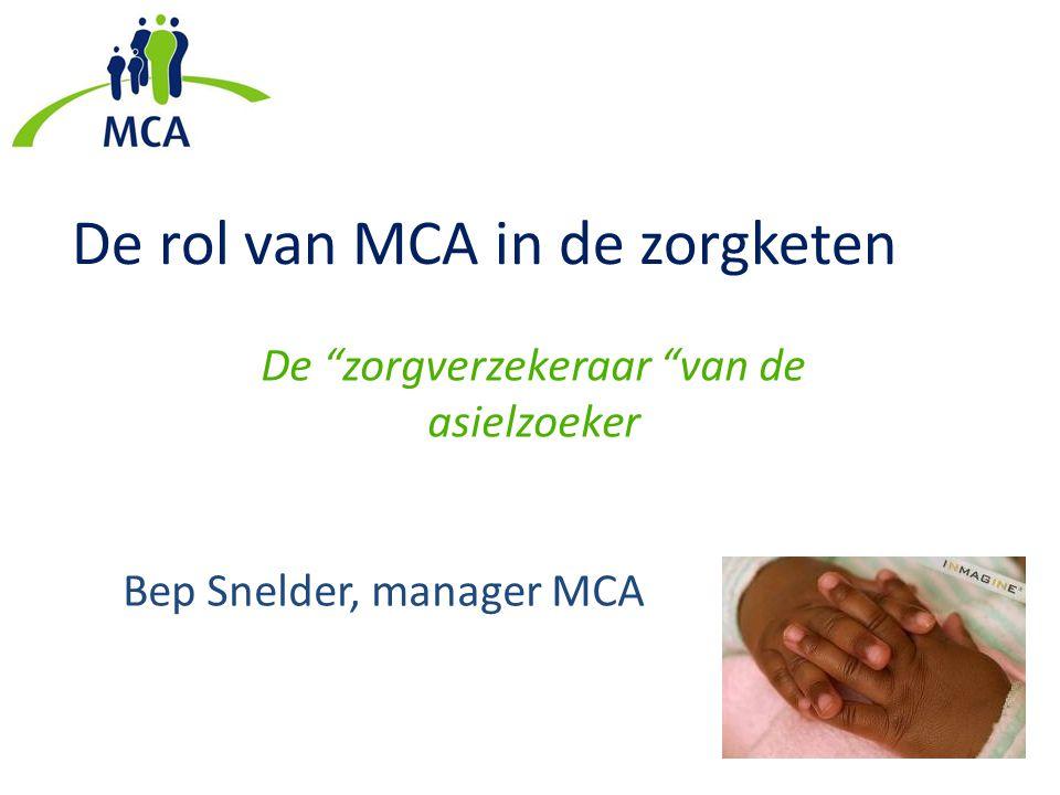 """De rol van MCA in de zorgketen De """"zorgverzekeraar """"van de asielzoeker Bep Snelder, manager MCA"""