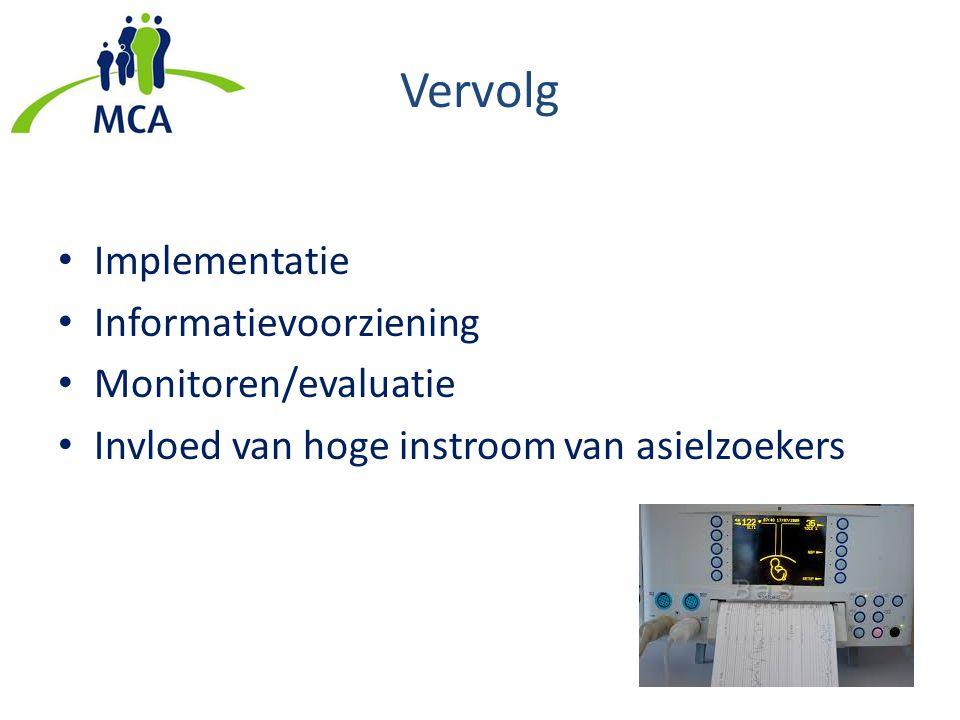 Vervolg Implementatie Informatievoorziening Monitoren/evaluatie Invloed van hoge instroom van asielzoekers
