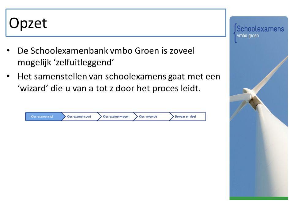 Opzet De Schoolexamenbank vmbo Groen is zoveel mogelijk 'zelfuitleggend' Het samenstellen van schoolexamens gaat met een 'wizard' die u van a tot z door het proces leidt.