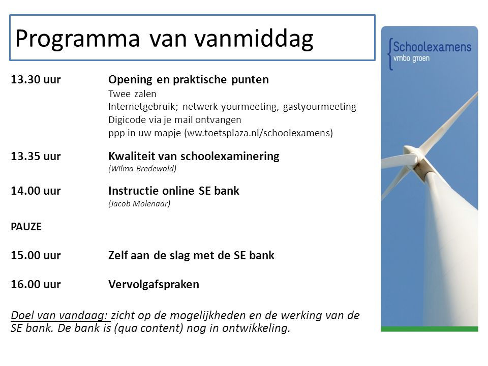 De Schoolexamenbank vmbo Groen Demonstratie en instructie Jacob Molenaar