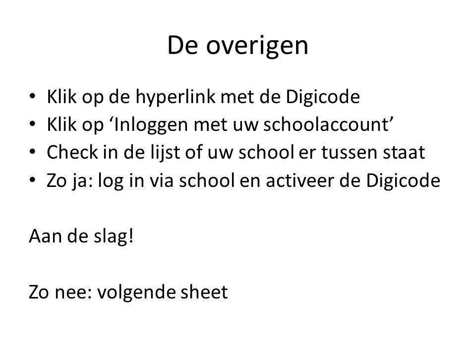 De overigen Klik op de hyperlink met de Digicode Klik op 'Inloggen met uw schoolaccount' Check in de lijst of uw school er tussen staat Zo ja: log in
