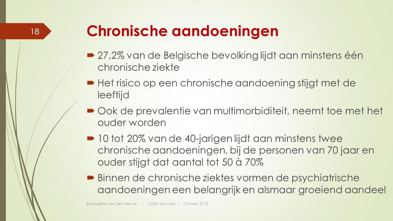 Chronische aandoeningen  27,2% van de Belgische bevolking lijdt aan minstens één chronische ziekte  Het risico op een chronische aandoening stijgt met de leeftijd  Ook de prevalentie van multimorbiditeit, neemt toe met het ouder worden  10 tot 20% van de 40-jarigen lijdt aan minstens twee chronische aandoeningen, bij de personen van 70 jaar en ouder stijgt dat aantal tot 50 à 70%  Binnen de chronische ziektes vormen de psychiatrische aandoeningen een belangrijk en alsmaar groeiend aandeel Bernadette Van Den Heuvel - CD&V senioren - 10 maart 2015 18