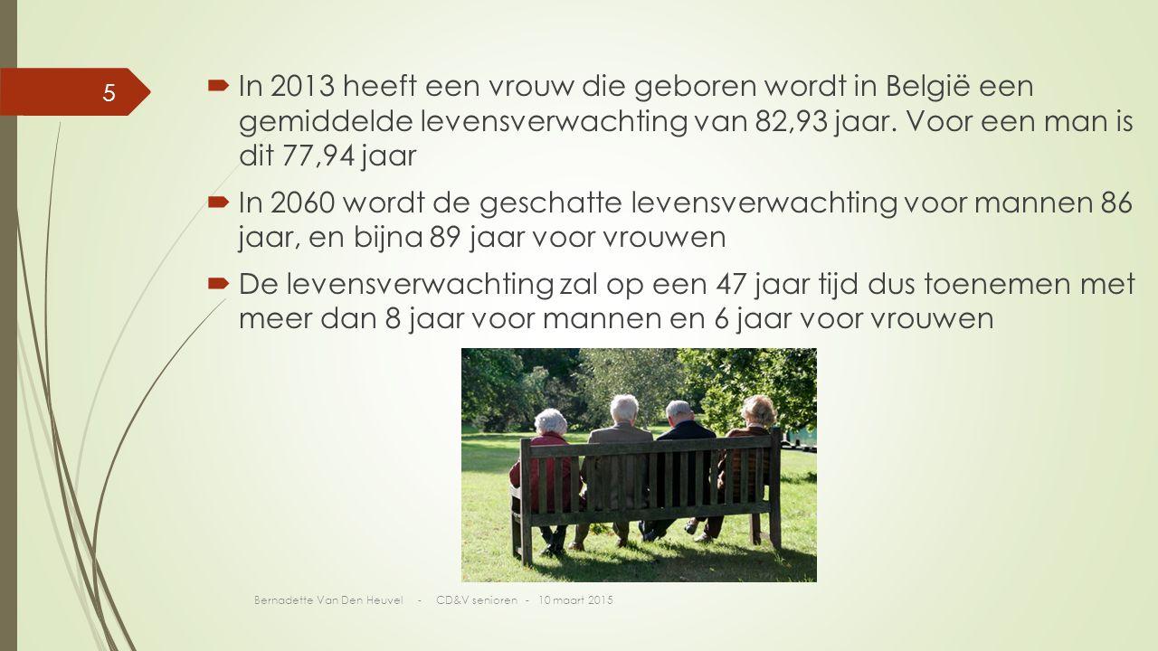  In 2013 heeft een vrouw die geboren wordt in België een gemiddelde levensverwachting van 82,93 jaar.