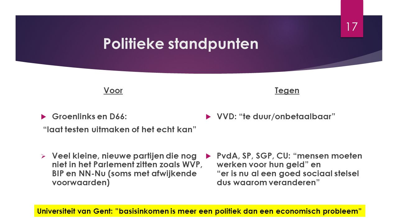 """Politieke standpunten Voor  Groenlinks en D66: """"laat testen uitmaken of het echt kan""""  Veel kleine, nieuwe partijen die nog niet in het Parlement zi"""