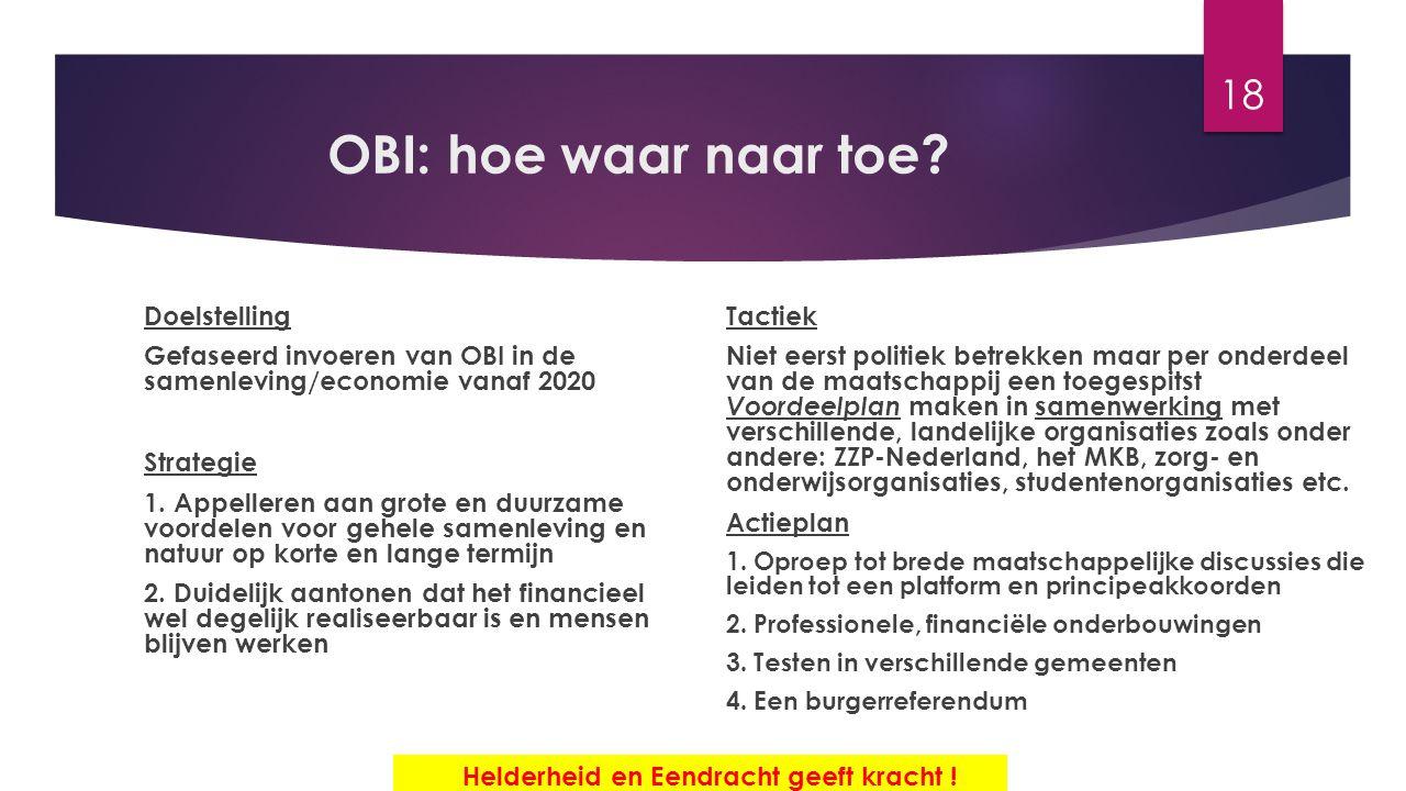 OBI: hoe waar naar toe? Doelstelling Gefaseerd invoeren van OBI in de samenleving/economie vanaf 2020 Strategie 1. Appelleren aan grote en duurzame vo