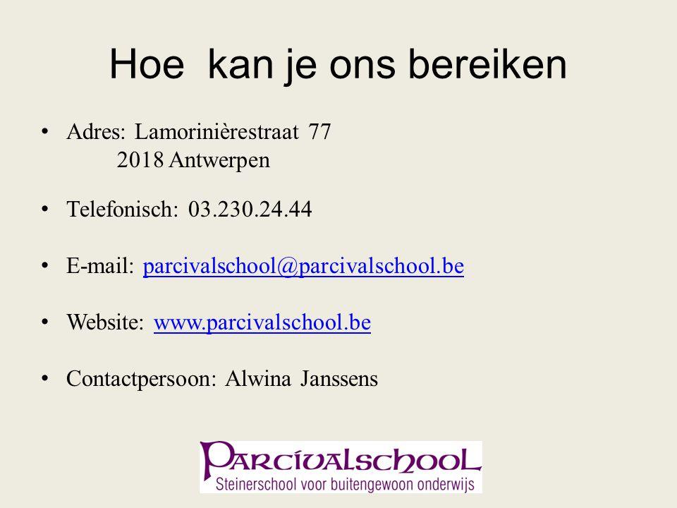 Hoe kan je ons bereiken Adres: Lamorinièrestraat 77 2018 Antwerpen Telefonisch: 03.230.24.44 E-mail: parcivalschool@parcivalschool.beparcivalschool@pa
