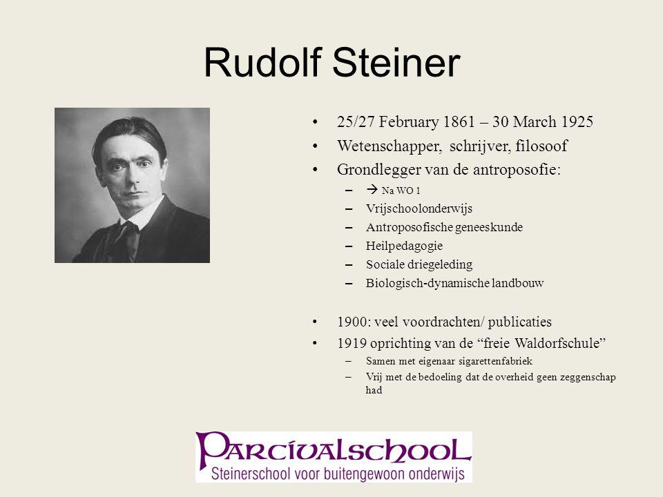 Rudolf Steiner 25/27 February 1861 – 30 March 1925 Wetenschapper, schrijver, filosoof Grondlegger van de antroposofie: –  Na WO 1 – Vrijschoolonderwi