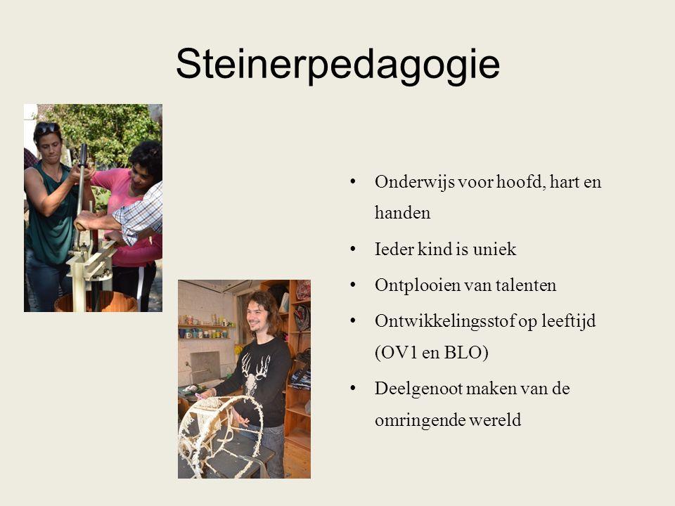Steinerpedagogie Onderwijs voor hoofd, hart en handen Ieder kind is uniek Ontplooien van talenten Ontwikkelingsstof op leeftijd (OV1 en BLO) Deelgenoo