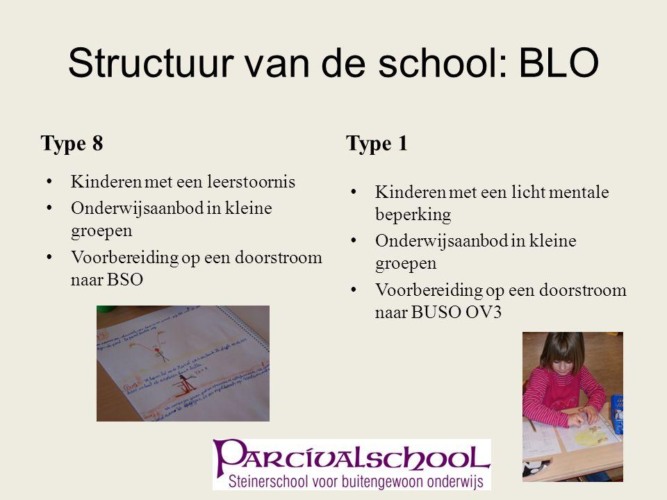 Structuur van de school: BLO Type 8 Kinderen met een leerstoornis Onderwijsaanbod in kleine groepen Voorbereiding op een doorstroom naar BSO Type 1 Ki
