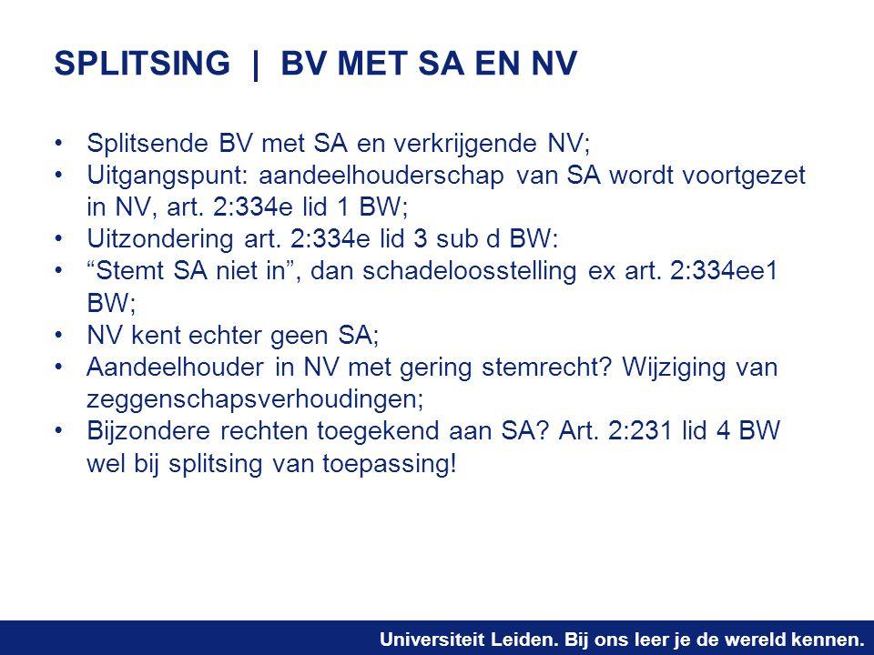Universiteit Leiden. Bij ons leer je de wereld kennen. SPLITSING | BV MET SA EN NV Splitsende BV met SA en verkrijgende NV; Uitgangspunt: aandeelhoude