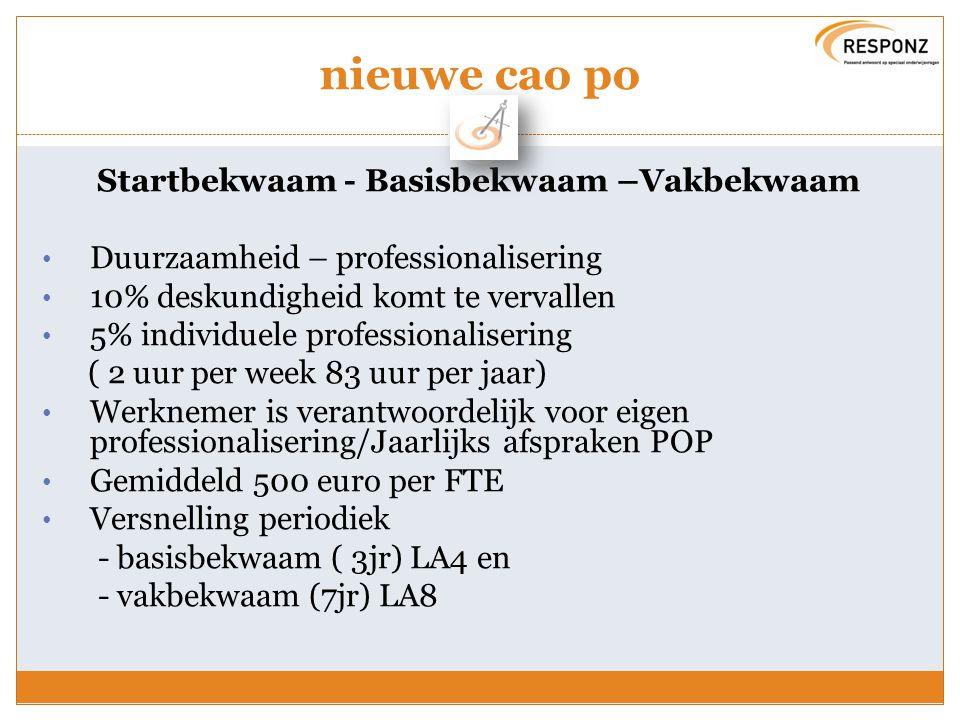 nieuwe cao po Startbekwaam - Basisbekwaam –Vakbekwaam Duurzaamheid – professionalisering 10% deskundigheid komt te vervallen 5% individuele profession