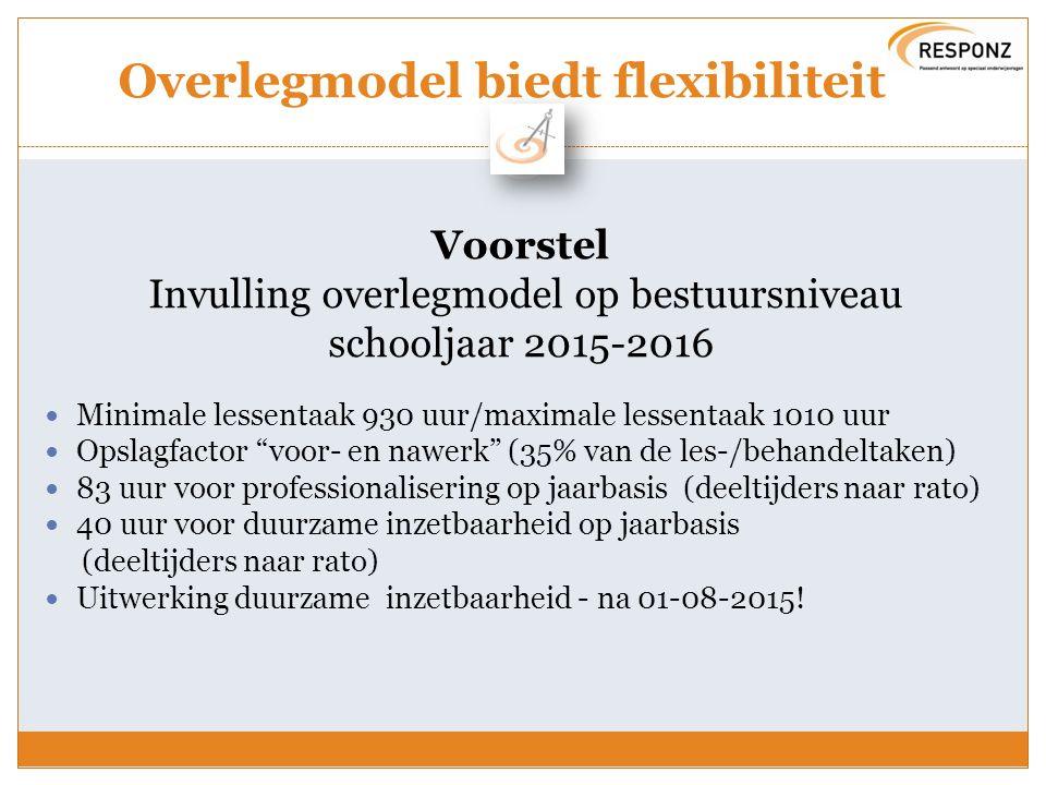 Overlegmodel biedt flexibiliteit Voorstel Invulling overlegmodel op bestuursniveau schooljaar 2015-2016 Minimale lessentaak 930 uur/maximale lessentaa