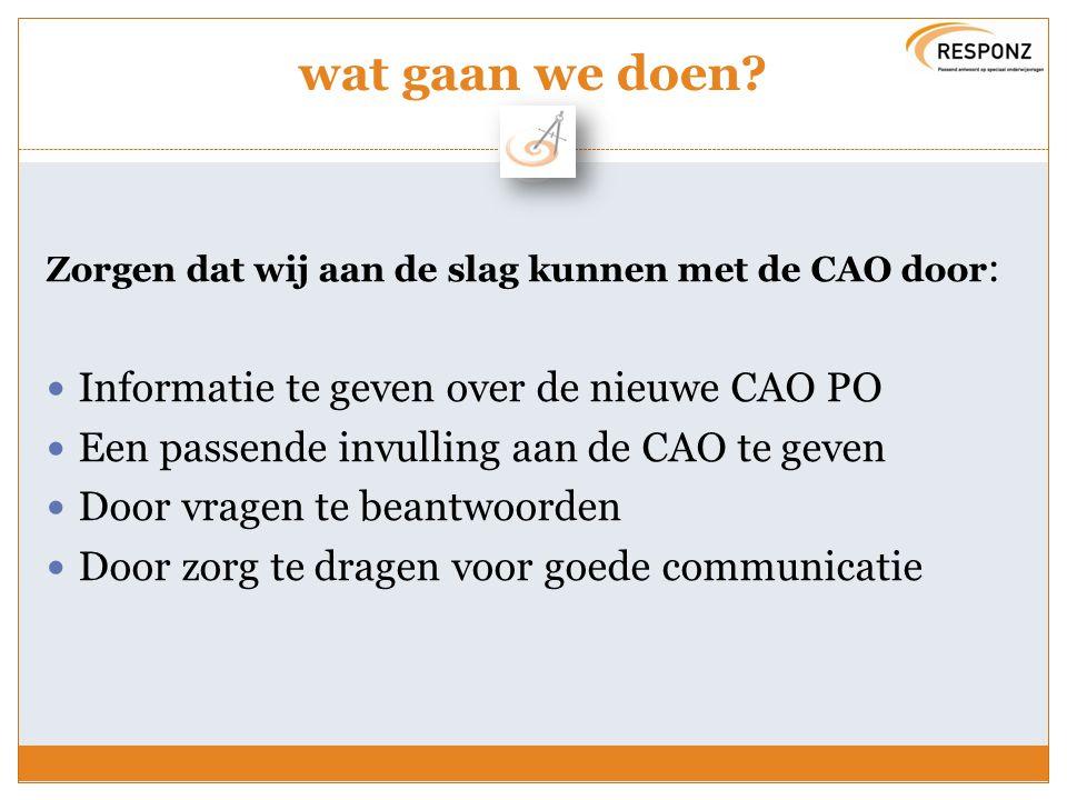 wat gaan we doen? Zorgen dat wij aan de slag kunnen met de CAO door : Informatie te geven over de nieuwe CAO PO Een passende invulling aan de CAO te g