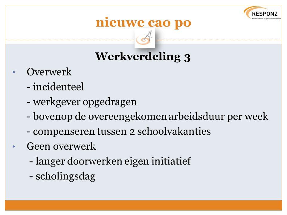 Overlegmodel biedt flexibiliteit Afstemmen schoolontwikkeling en eigen ambities door afspraken te maken over: Invulling voor- en nawerk Bepalen van de opslagfactor (voor- en nawerk) Invulling overige taken