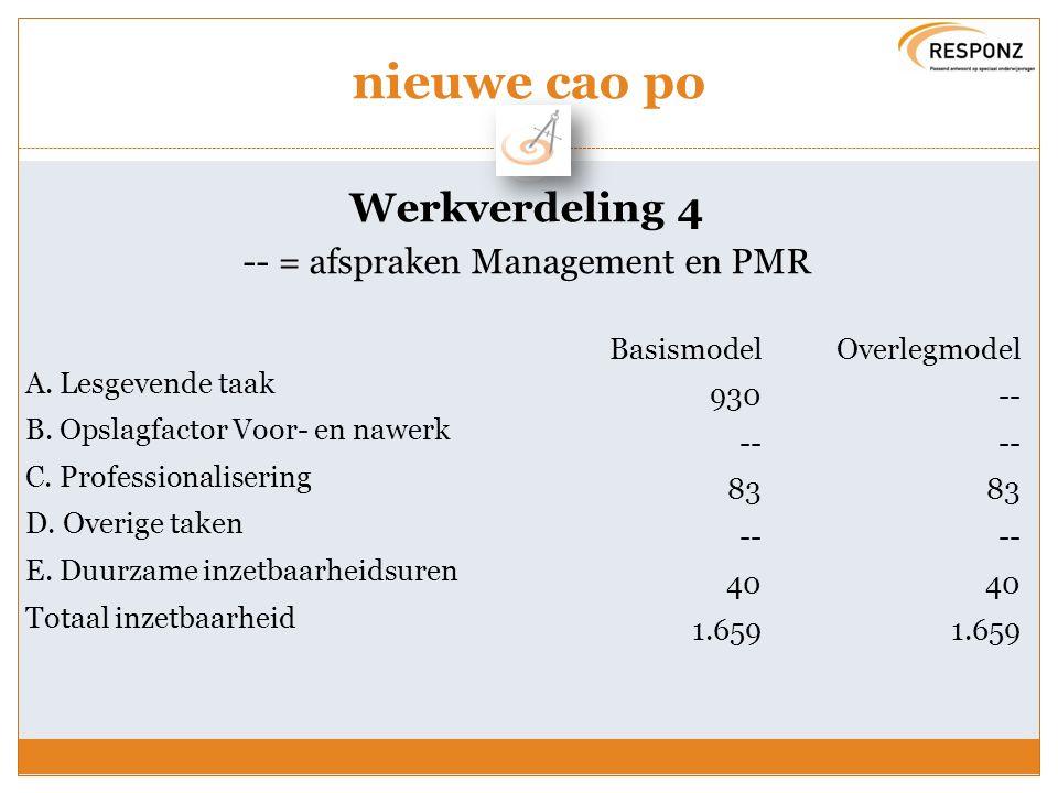 nieuwe cao po Werkverdeling 5 Keuze basismodel of overlegmodel : Instemming PGMR (kaders stichting) Per school invoeren overleg met PMR Invoering van plan op school is instemming PMR en meerderheid van het personeel 3 jaar nieuw akkoord met PMR