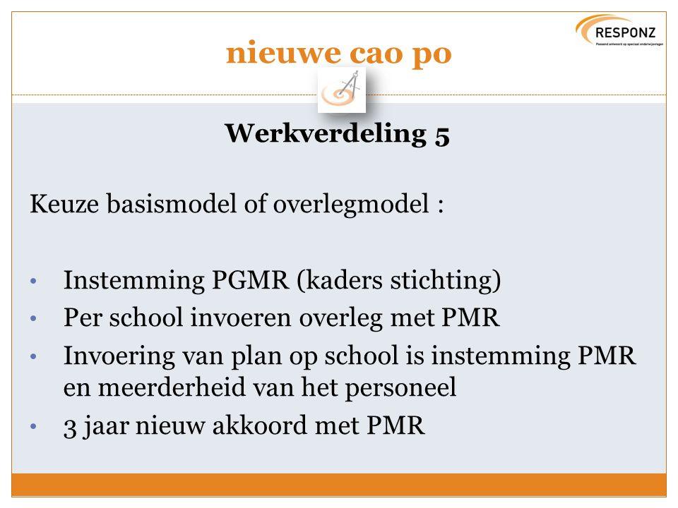 nieuwe cao po Werkverdeling 5 Keuze basismodel of overlegmodel : Instemming PGMR (kaders stichting) Per school invoeren overleg met PMR Invoering van