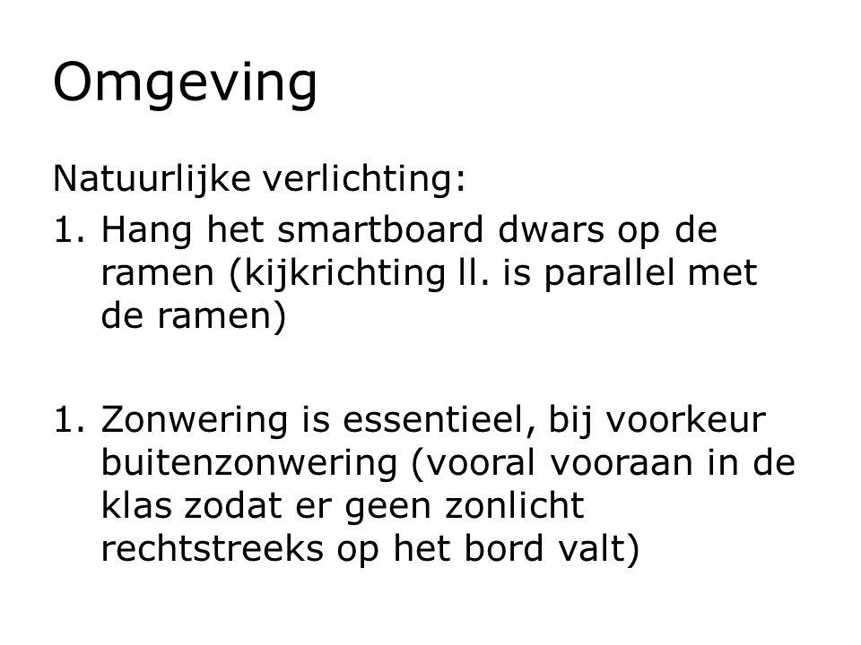 Omgeving Natuurlijke verlichting: 1.Hang het smartboard dwars op de ramen (kijkrichting ll. is parallel met de ramen) 1.Zonwering is essentieel, bij v