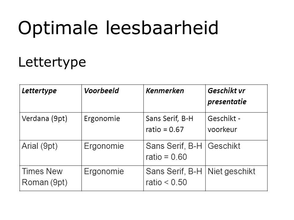Optimale leesbaarheid Lettertype VoorbeeldKenmerken Geschikt vr presentatie Verdana (9pt)Ergonomie Sans Serif, B-H ratio = 0.67 Geschikt - voorkeur Ar