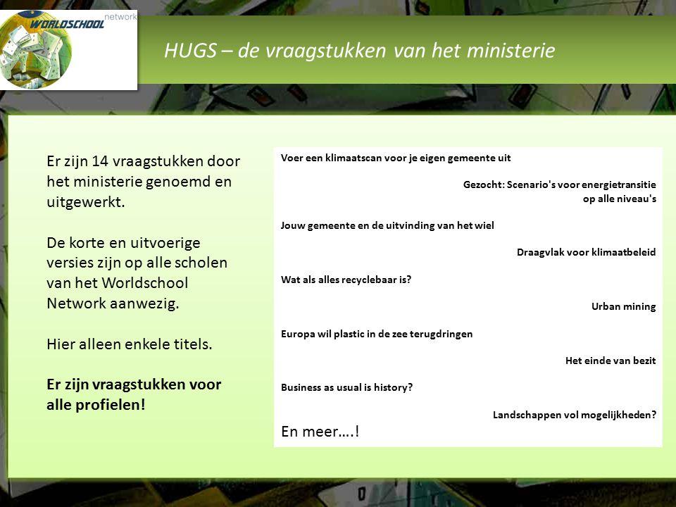 HUGS – de vraagstukken van het ministerie Er zijn 14 vraagstukken door het ministerie genoemd en uitgewerkt. De korte en uitvoerige versies zijn op al