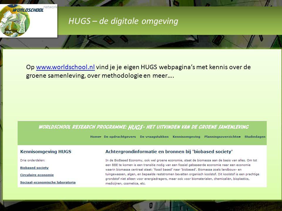 HUGS – de digitale omgeving Op www.worldschool.nl vind je je eigen HUGS webpagina's met kennis over de groene samenleving, over methodologie en meer….www.worldschool.nl