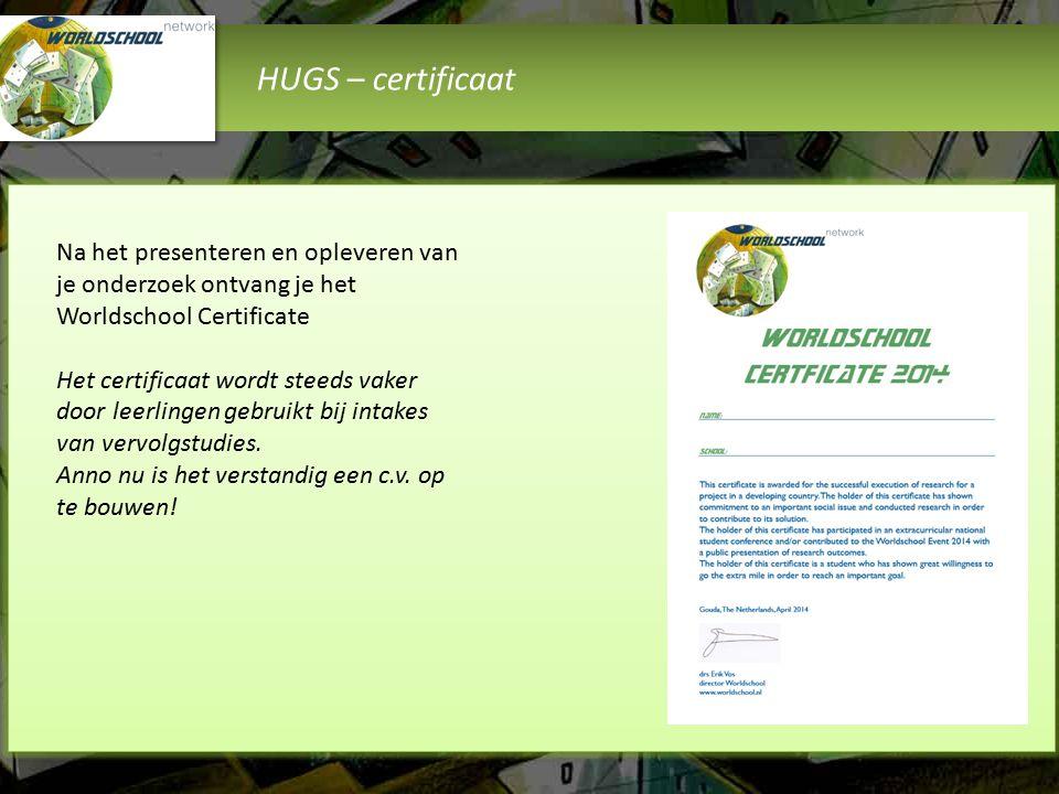 HUGS – certificaat Na het presenteren en opleveren van je onderzoek ontvang je het Worldschool Certificate Het certificaat wordt steeds vaker door leerlingen gebruikt bij intakes van vervolgstudies.