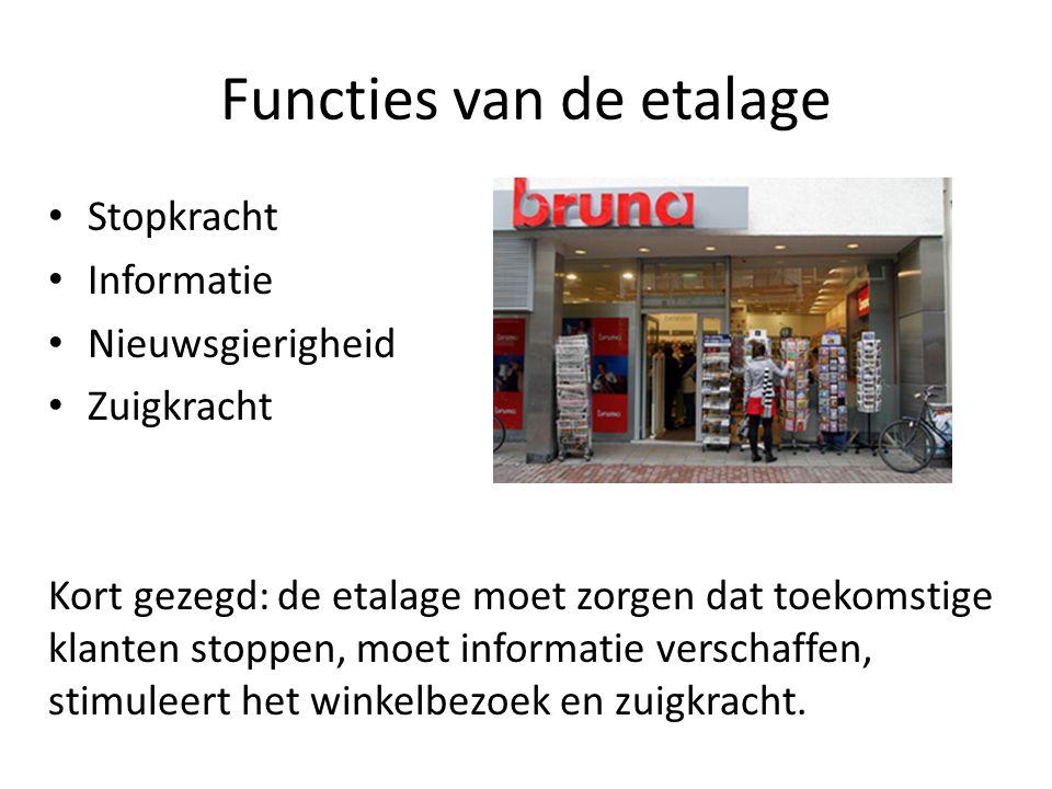 Functies van de etalage (frontpresentatie) Eisen: - aandacht trekken - Stopkracht bezitten - uitstraling hebben - actueel zijn - klanten binnenlokken - nieuwe klanten aantrekken - moet laten zien wat er in de winkel te koop is