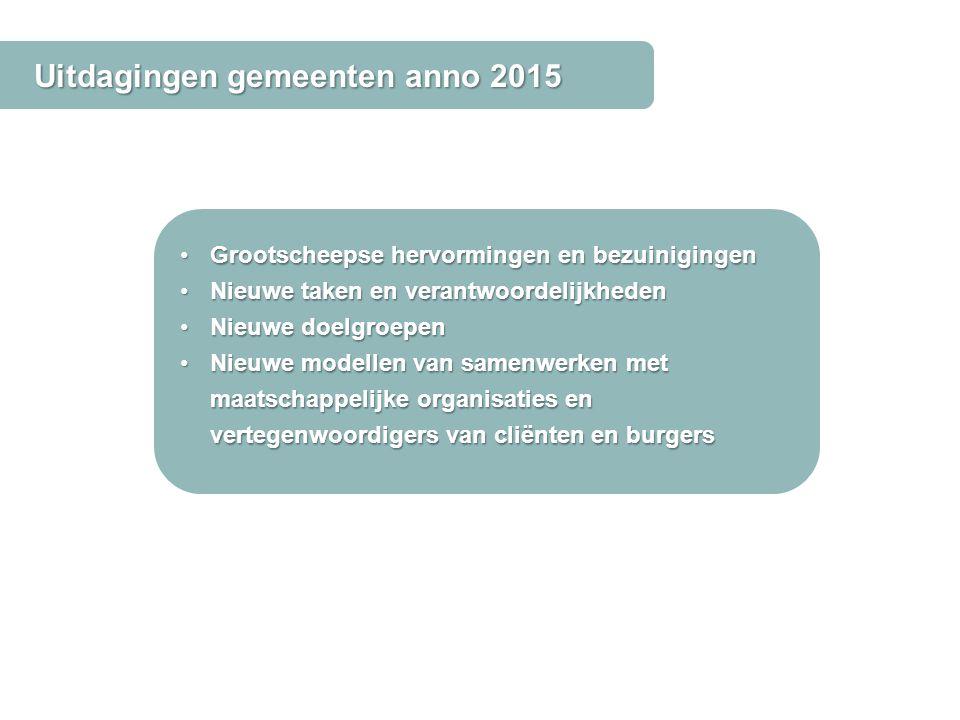 Uitdagingen gemeenten anno 2015 Grootscheepse hervormingen en bezuinigingenGrootscheepse hervormingen en bezuinigingen Nieuwe taken en verantwoordelij