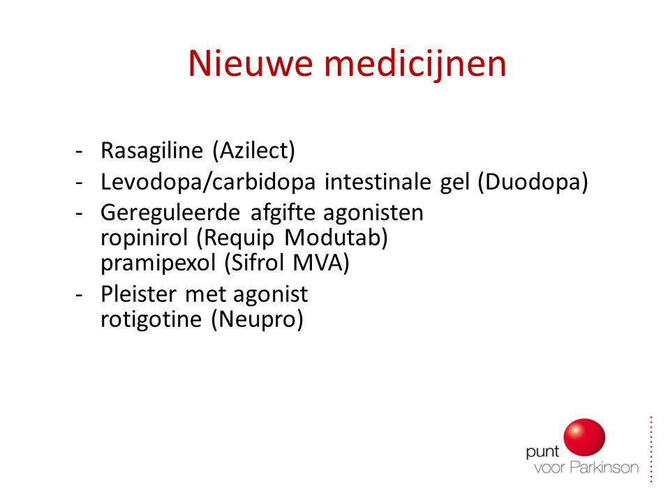 Nieuwe medicijnen -Rasagiline (Azilect) -Levodopa/carbidopa intestinale gel (Duodopa) -Gereguleerde afgifte agonisten ropinirol (Requip Modutab) pramipexol (Sifrol MVA) -Pleister met agonist rotigotine (Neupro)