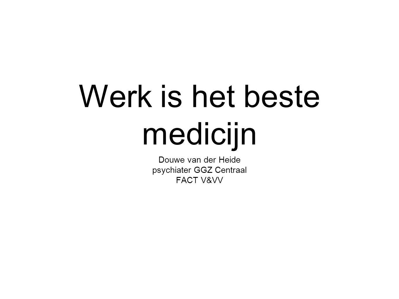 Werk is het beste medicijn Douwe van der Heide psychiater GGZ Centraal FACT V&VV