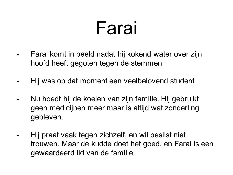 Farai Farai komt in beeld nadat hij kokend water over zijn hoofd heeft gegoten tegen de stemmen Hij was op dat moment een veelbelovend student Nu hoed