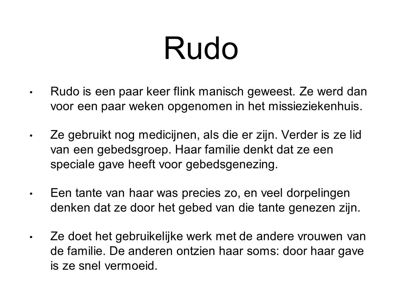 Rudo Rudo is een paar keer flink manisch geweest. Ze werd dan voor een paar weken opgenomen in het missieziekenhuis. Ze gebruikt nog medicijnen, als d