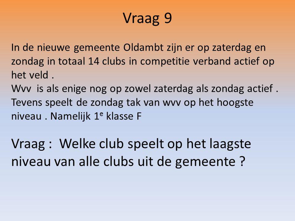 Vraag 9 In de nieuwe gemeente Oldambt zijn er op zaterdag en zondag in totaal 14 clubs in competitie verband actief op het veld.