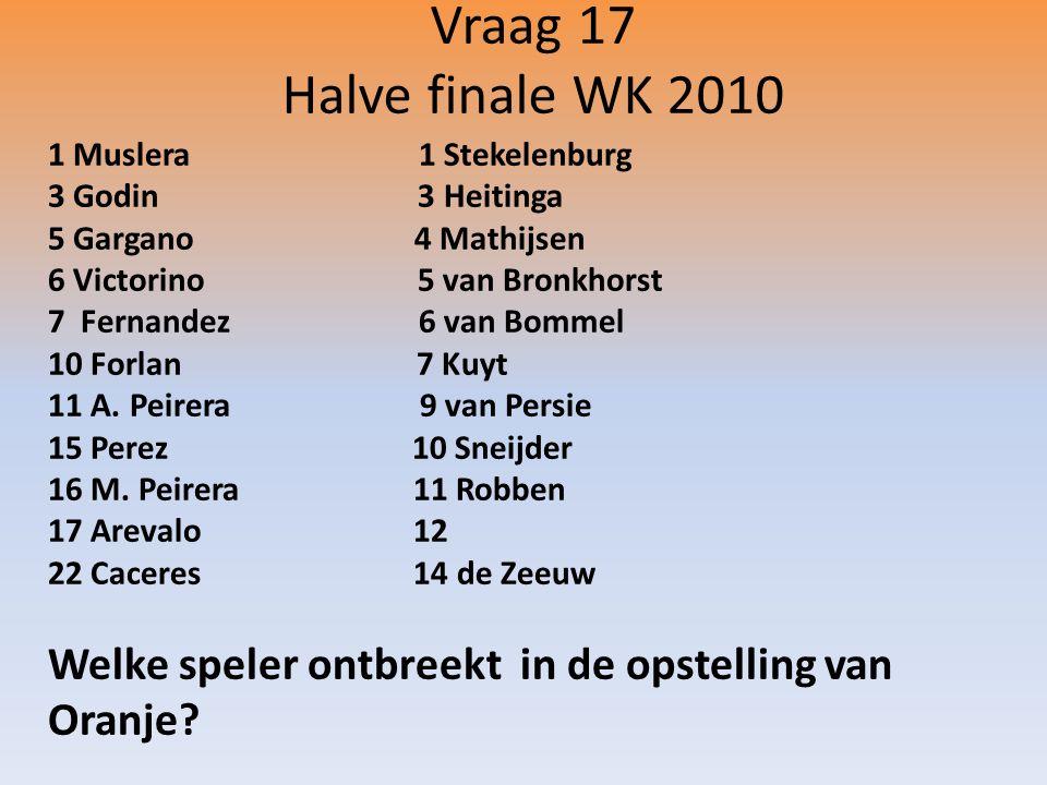 Vraag 17 Halve finale WK 2010 1 Muslera 1 Stekelenburg 3 Godin 3 Heitinga 5 Gargano 4 Mathijsen 6 Victorino 5 van Bronkhorst 7 Fernandez 6 van Bommel 10 Forlan 7 Kuyt 11 A.