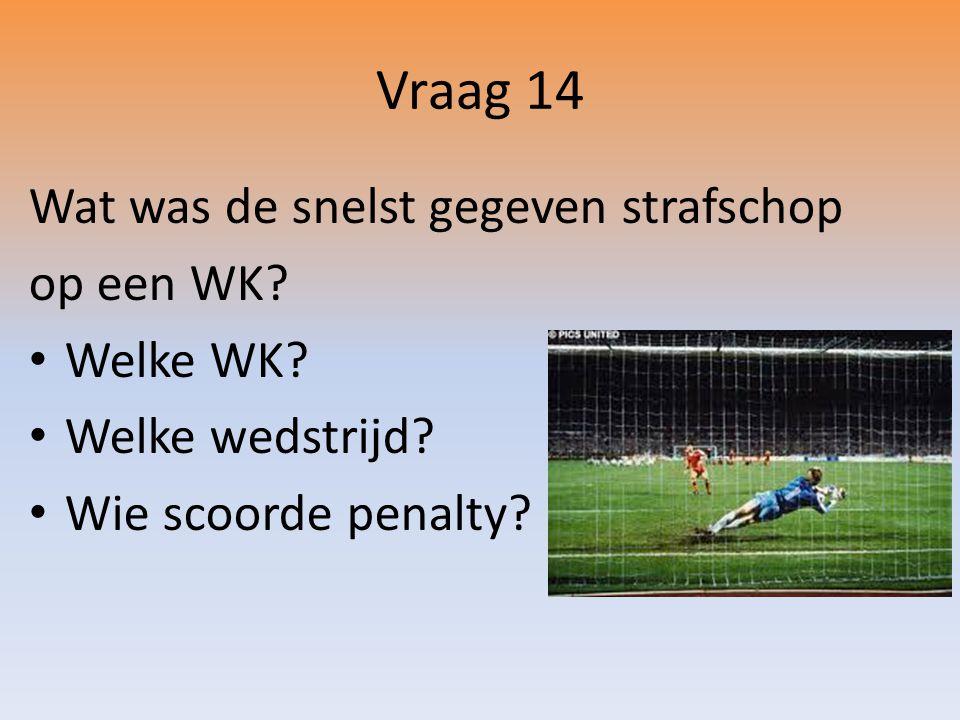 Vraag 14 Wat was de snelst gegeven strafschop op een WK.