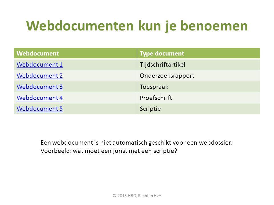 Webdocumenten kun je benoemen WebdocumentType document Webdocument 1Tijdschriftartikel Webdocument 2Onderzoeksrapport Webdocument 3Toespraak Webdocume